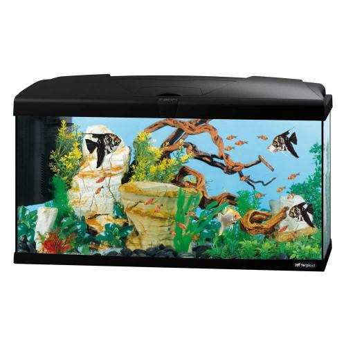 Скляний акваріум Ferplast Capri 80 Black з лампою і внутрішнім фільтром, чорний, 100 л