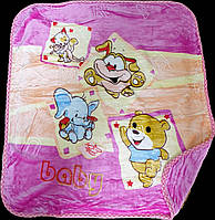 Детский плед-одеяло в кроватку  сиреневый 100х110