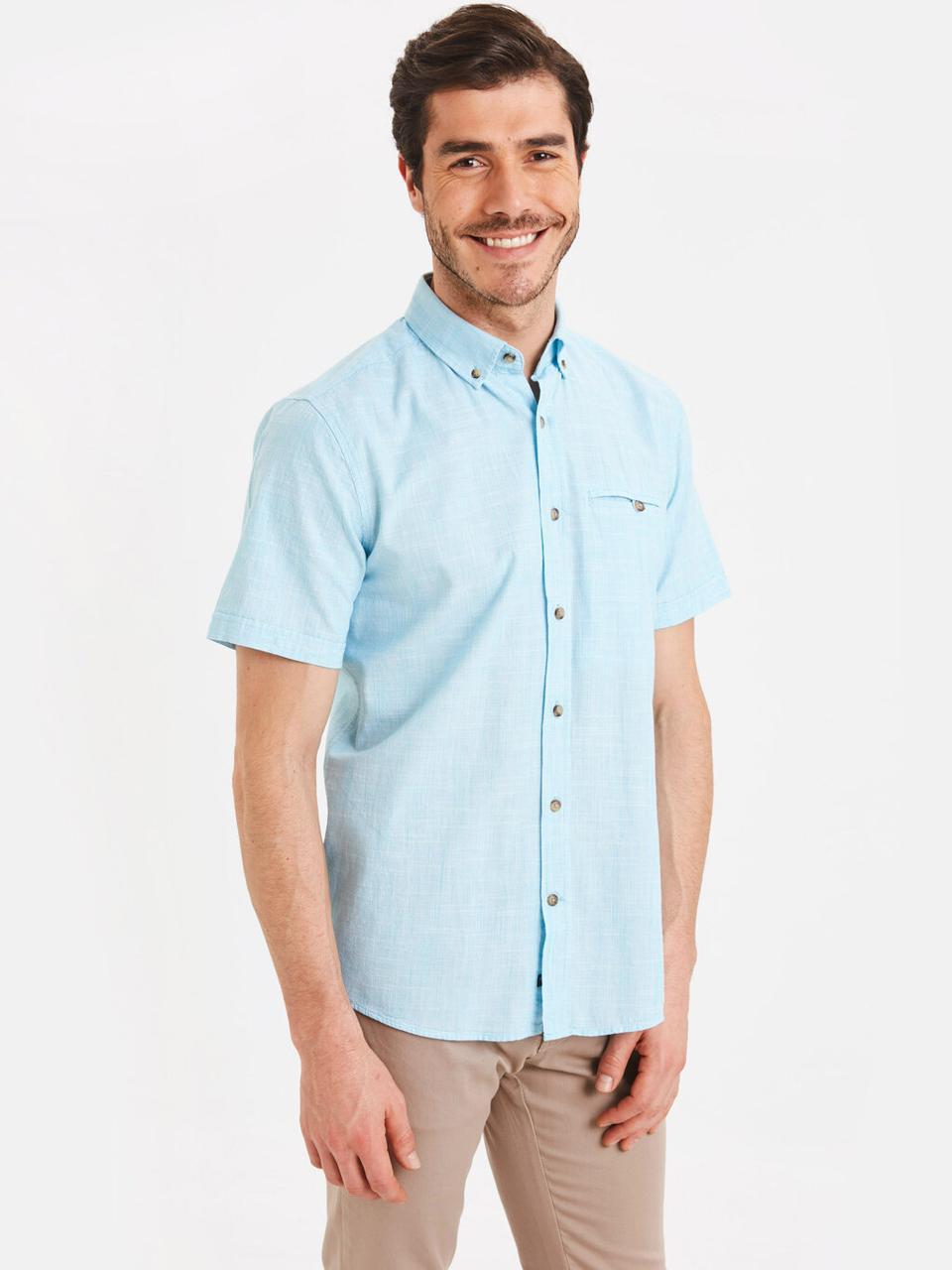 Голубая мужская рубашка LC Waikiki / ЛС Вайкики в мелкую белую клетку, с карманом на груди