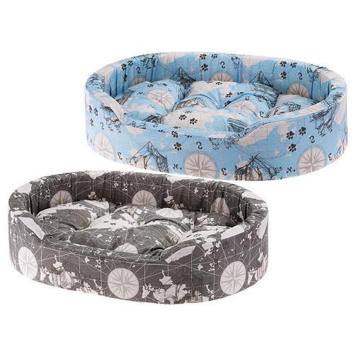 М'яка лежанка Dandy 65 Map Blue-Grey для собак і кішок, 65x46x17 см