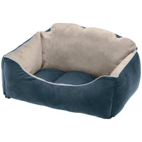 Оксамитова ліжко Milord 55 Bedding Blue-Beige для собак і кішок, 55x45x26 см