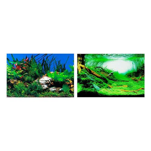 Двосторонній акваріумний фон Ferplast BLU 9040 Background із зображенням рослині, 60x40 см