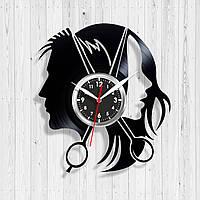 Часы Парикмахер Насенные часы для салонов Виниловые часы Парикмахерские аксессуары Тихий кварцевый механизм