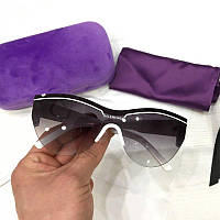 Солнцезащитные женские очки лисички Balenciaga реплика Черные с градиентом в белой оправе, фото 1