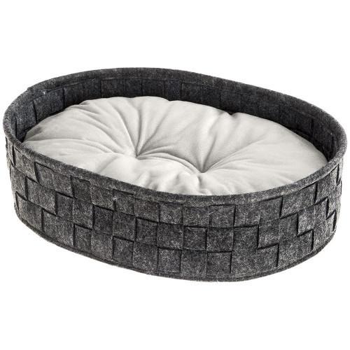Валяне ліжко Cocoon 45 Dark Grey Cushion для кішок і собак з двостороннім подушкою, 45x35x12 см