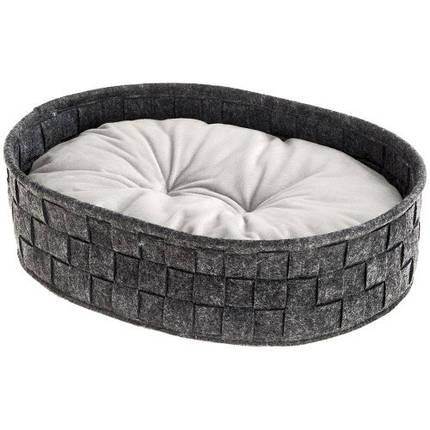 Валяне ліжко Cocoon 45 Dark Grey Cushion для кішок і собак з двостороннім подушкою, 45x35x12 см, фото 2