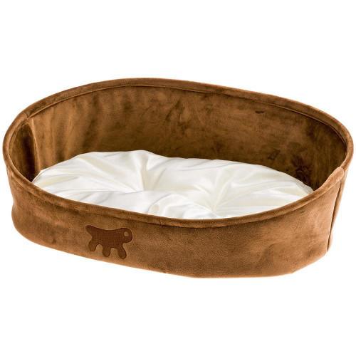 Лежанка с двухсторонней подушкой Laska 45 Brown Dogbed для кошек и собак, 45x34x16 см