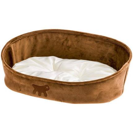 Лежанка с двухсторонней подушкой Laska 45 Brown Dogbed для кошек и собак, 45x34x16 см, фото 2