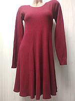 Трикотажное бордовое платье А силуэта