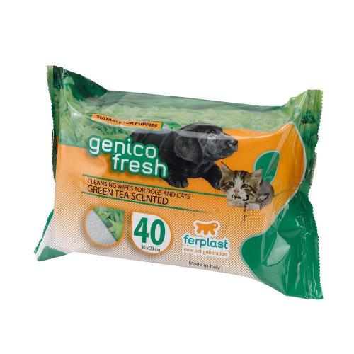 Genico Fresh 40 Green Tea очищаючі серветки для собак і кішок, 20x30 см