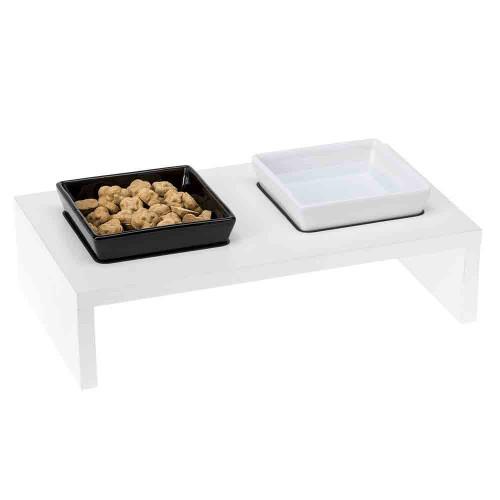 Ferplast Maki 01 деревянная подставка с керамическими мисками для кошек и собак, 40x21x13 см