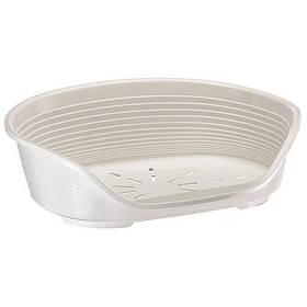 Пластиковый лежак с антискользящим покрытием Ferplast Siesta Deluxe 2 White для использования в помещении для собак и кошек, 49x36x17,5 см