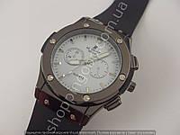 Мужские часы Hublot 6581 черные на белом циферблате