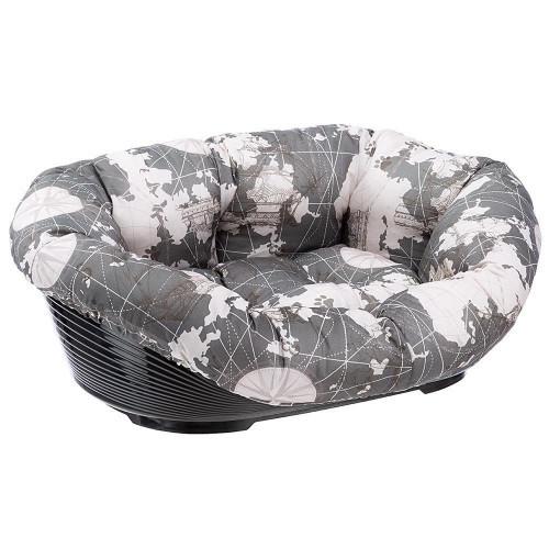 Пластиковый лежак Ferplast Sofa' 4 Triangle для собак и кошек в комплекте с подушкой, 64x48x25 см