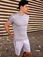 Футболка мужская летняя модная стильная серая с полосками кантами
