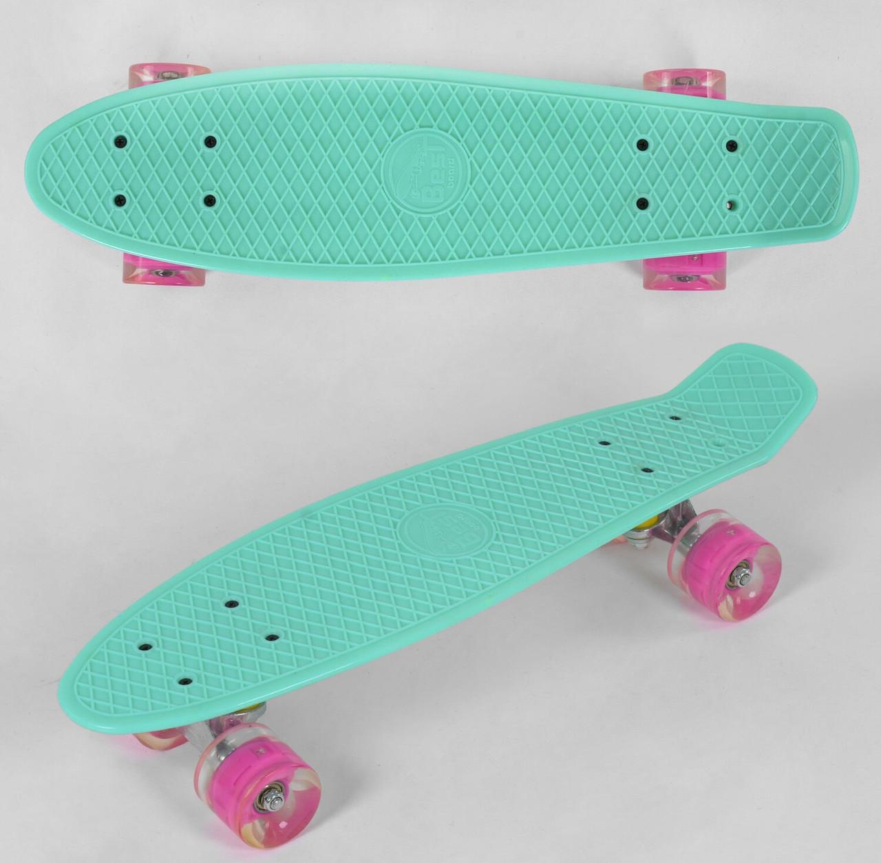 """Пенні борд скейт 22"""" колеса світяться Best Board 6060 бірюзовий"""