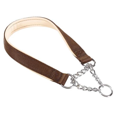 Нейлоновый ошейник с металлической цепочкой Ferplast Daytona CSS15/40 Brown для собак, A: 40 см, B: 15 см