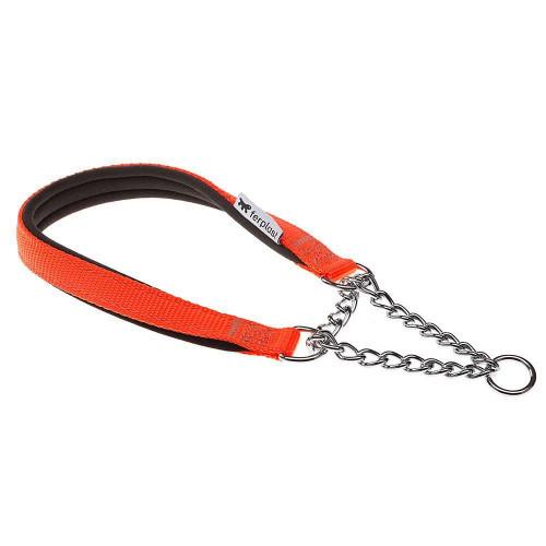 Нейлоновый ошейник с металлической цепочкой Ferplast Daytona CSS15/45 Orange для собак, A: 45 см, B: 15 см
