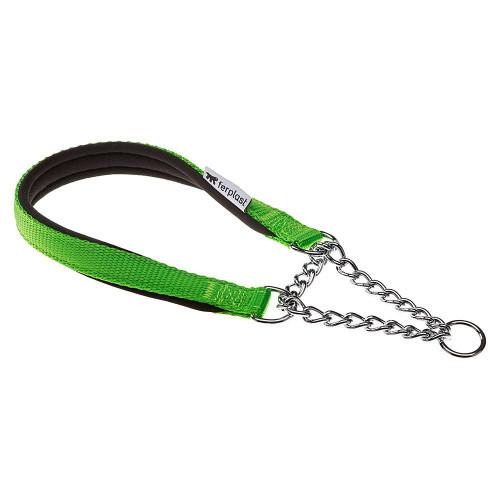 Нейлоновый ошейник с металлической цепочкой Ferplast Daytona CSS20/50 Green для собак, A: 50 см, B: 20 см