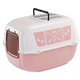 Закрытый туалет Ferplast Toilet Home Prima Decor Pink для кошек из пластика