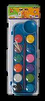 Фарби акварельні 12 кольорів з пензликом, синя, Zibi