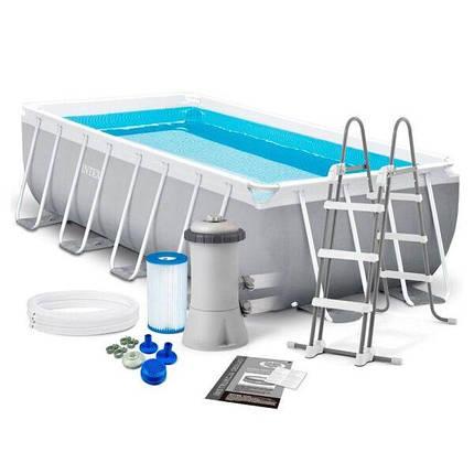 Каркасный бассейн Intex 26788 (400х200х100 см.), лестница и насос, фото 2