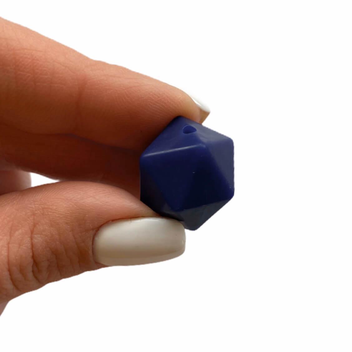 Средний икосаэдр (темно-синий -2й) 17мм, силиконовая бусина