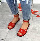 Женские красные босоножки, натуральная лакированная кожа (в наличии и под заказ 3-14 дней), фото 3
