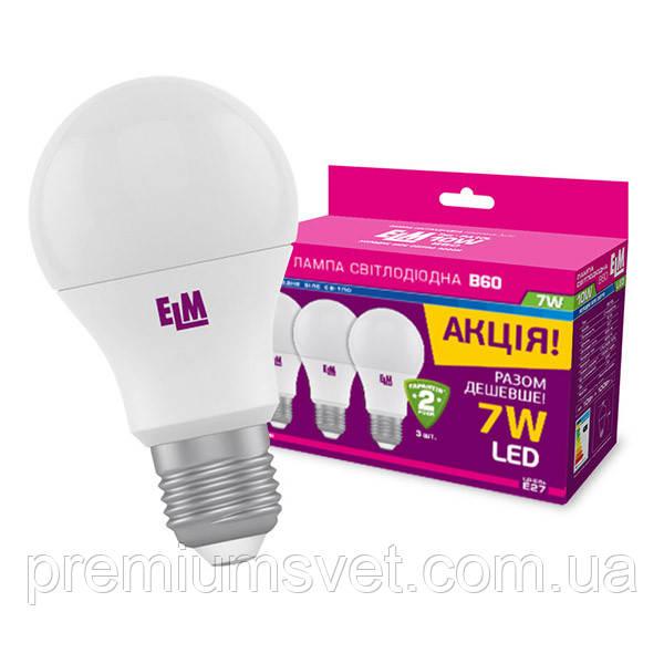 Лампа ELM Led B60 7W PA10L E27 4000 3шт (18-0119)