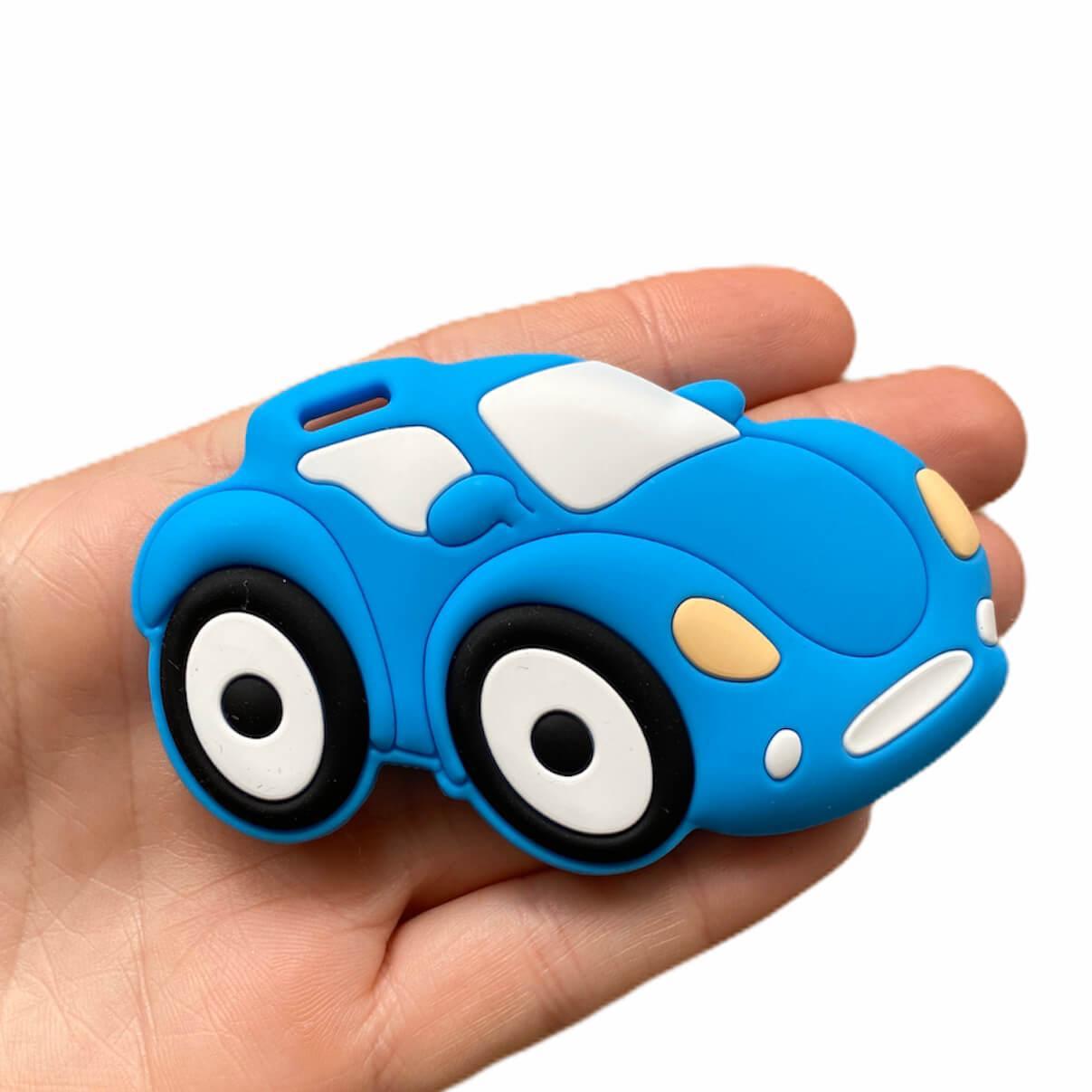 Гоночна Машинка (блакитний) силіконовий прорізувач для зубів