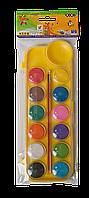 Фарби акварельні 12 кольорів з пензликом, жовтий, Zibi
