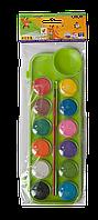 Фарби акварельні 12 кольорів з пензликом, салатовий, Zibi