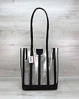 Сумка шоппер женская силиконовая на плечо прозрачная с длинными ручками, фото 1