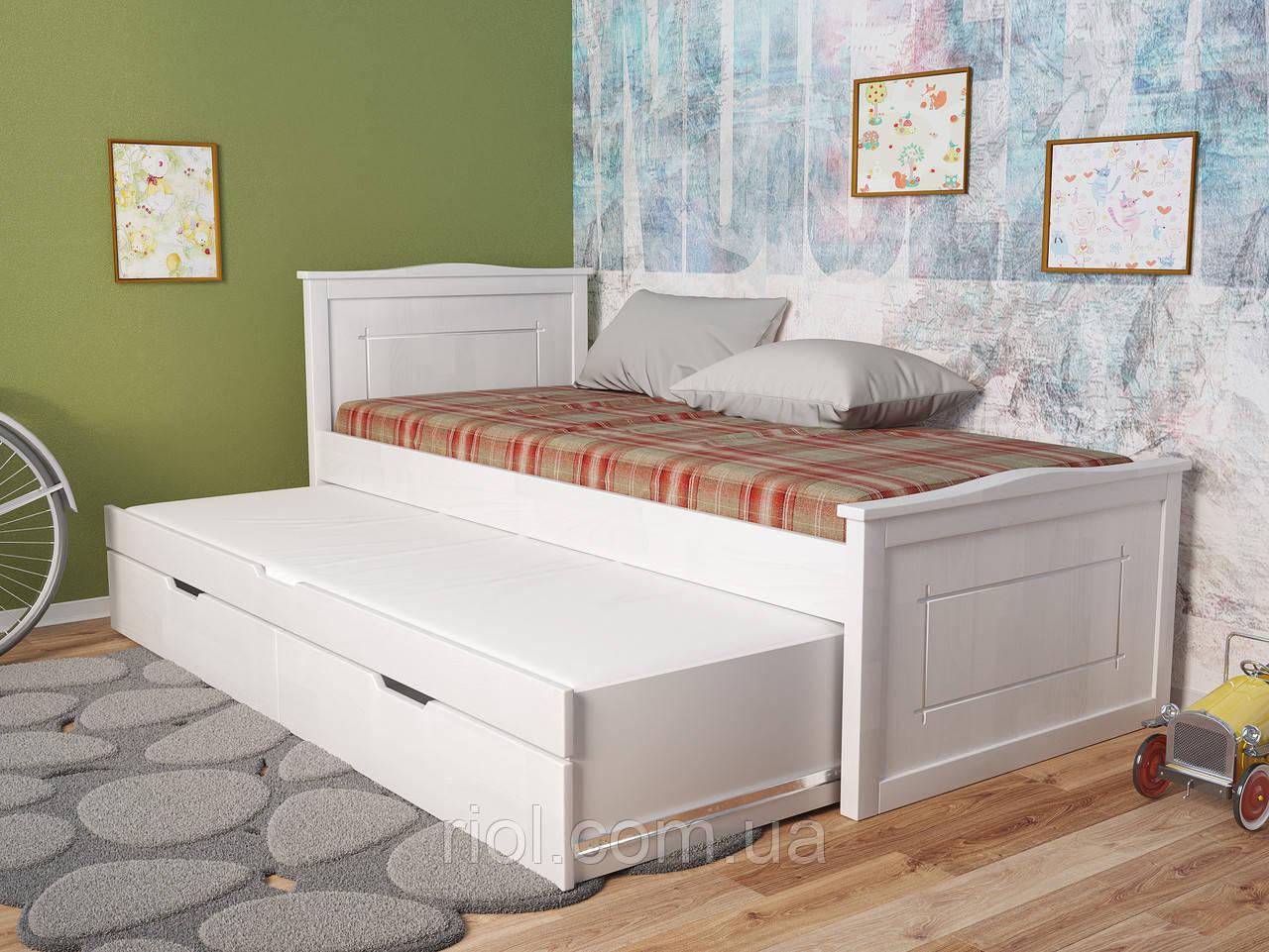 Детская деревянная кровать Компакт плюс с дополнительным спальным местом