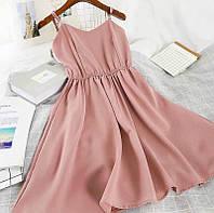 Женское прогулочное однотонное легкое летнее мини платье на бретельках (софт) 4 цвета