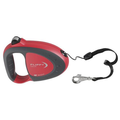 Поводок-рулетка для собак до 25 кг Ferplast Flippy Tech Cord M Red, со шнуром, красный, 5 м