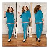 Костюм жіночий брючний, блуза з брюками, прекрасний повсякденний варіант, 4 кольори, р. 50,52,54,56 код 089Й, фото 2