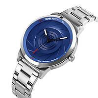 Skmei 9210 серебристые с синим мужские оригинальные часы