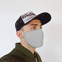 Маска защитная на лицо многоразовая 2х слойная серая (М2004), фото 1