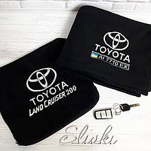 Автомобильные плед в чехле с логотипом и гос.номером. Все марки авто, цвет на выбор