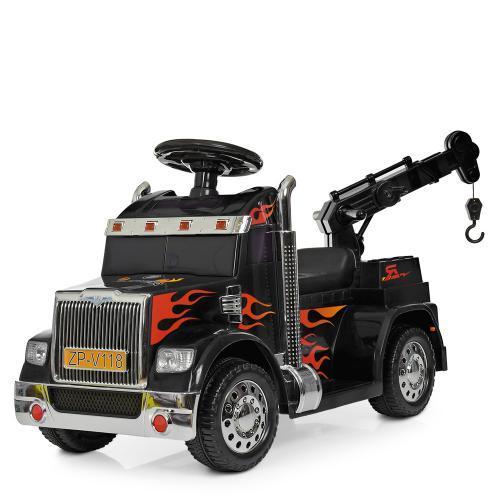 Детская машинка Bambi Тягач ZPV118BR-2 электромобиль для прогулок черный