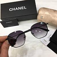 Женские солнцезащитные очки авиаторы Шанель  реплика  Фиолетовые с градиентом, фото 1