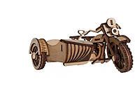 Механический деревянный 3D пазл РЕЗАНОК Мотоцикл с коляской 124 элемента (0003)