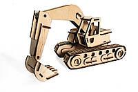 Механический деревянный 3D пазл РЕЗАНОК Экскаватор 125 элементов (0005)