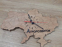 """Декоративные деревянные часы """"Карта Украины"""""""