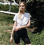 Женский летний комплект костюм футболка + шорты велосипедки комплект белые с черным Турция. Живое фото, фото 3