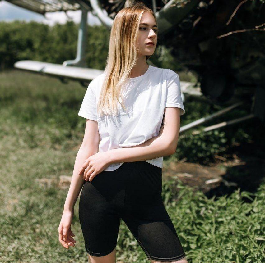 Женский летний комплект костюм футболка + шорты велосипедки комплект белые с черным Турция. Живое фото