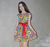 Платье мини молодежное коктейльное цветочный принт оливковый розовый голубой нарядное вечернее бэби долл