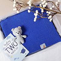 Плед Синій дитячий в'язаний HappyLittleFox, фото 1