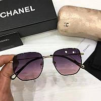 Женские солнцезащитные очки авиаторы Шанель реплика Фиолетово-розовые с градиентом, фото 1